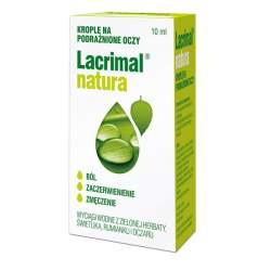Lacrimal Natura 10 ml - nawilżające krople do oczu o właściwościach kojących i odświeżających.